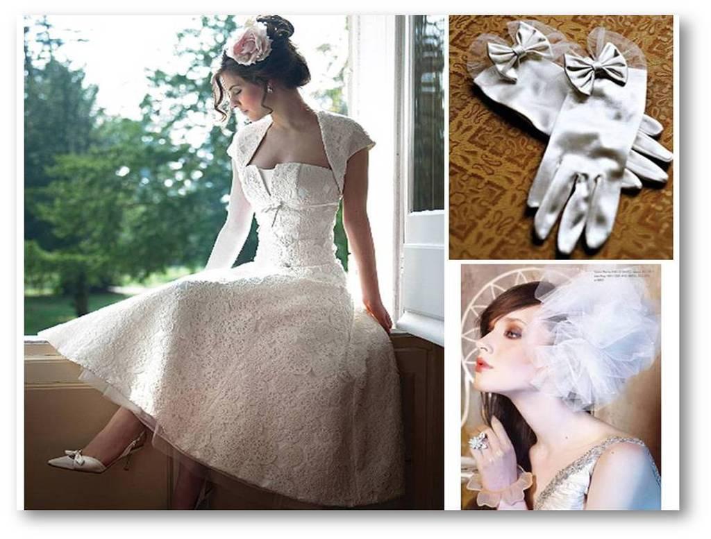 1950's Inspired Lace Tea-length Wedding Dress, Vintage