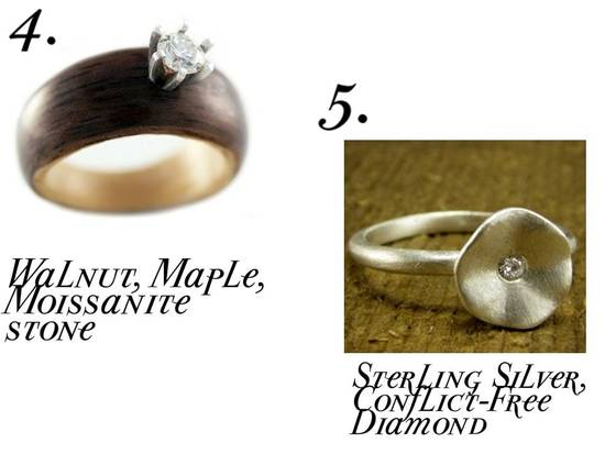 Lovely wood and sterling silver eco-chic engagement rings