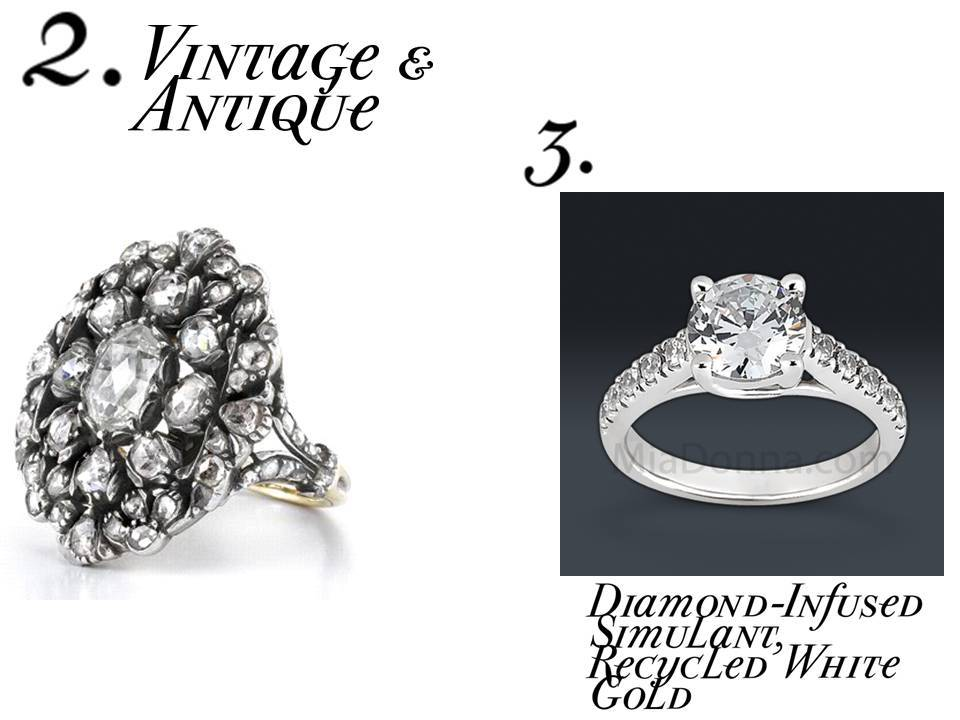 Go green and budget-friendly with vintage engagement rings and simulated diamonds