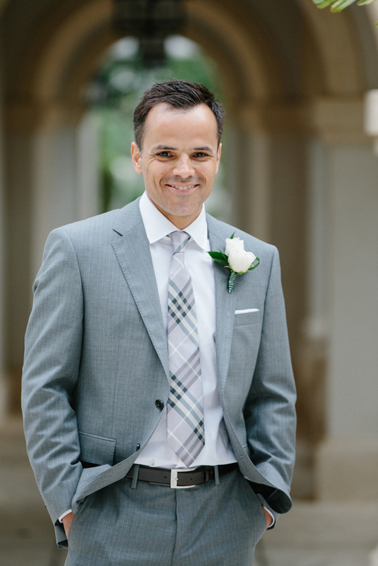 Grey groom's suit