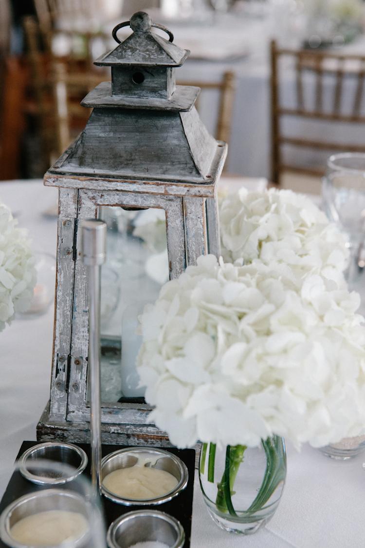 Lantern and hydrangea beach wedding decor
