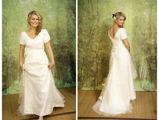 Plus-size 2011 Adele Wechsler wedding dress with v neck and back