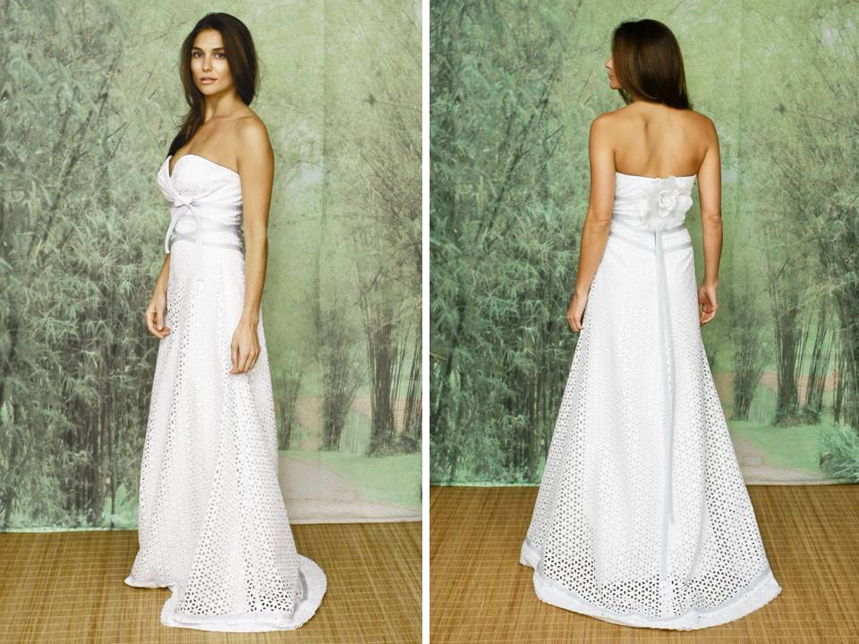 Strapless a line eco chic wedding dress with floral and lace applique