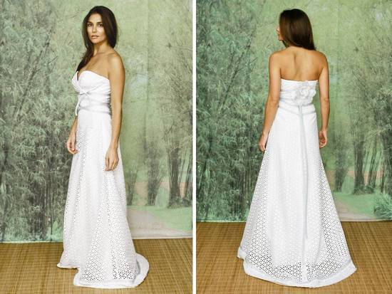 Strapless a-line eco-chic wedding dress with floral and lace applique