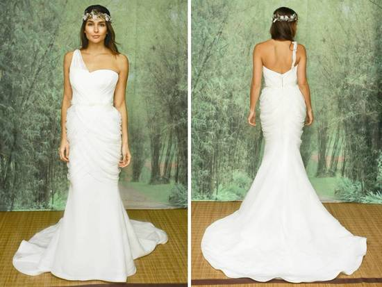 One shoulder white mermaid wedding dress by Adele Wechsler