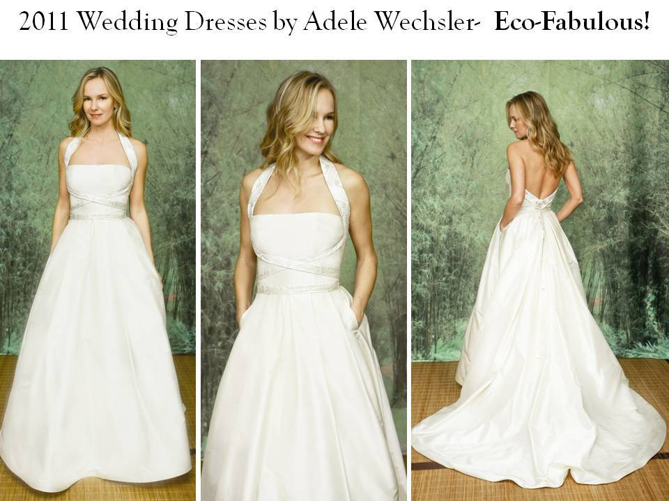 halter princess wedding dress with pockets, by Adele Wechsler