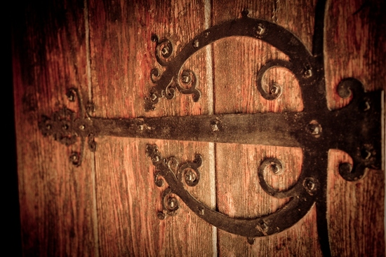 Wedding detail shot- ceremony venue doors with old world feel