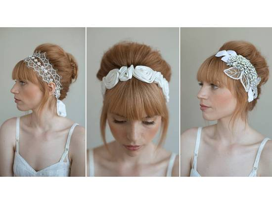 Stunning bridal headbands embellished with lace, floral applique, and beading