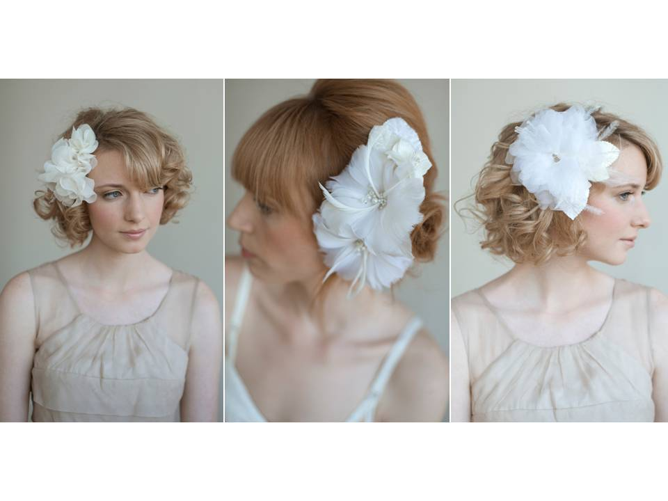 Romantic ivory fabric flower hair accessories for bride's wedding day look