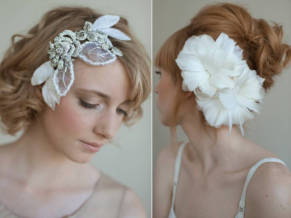 Romantic bridal hair accessories with feathers, pearls and rhinestones