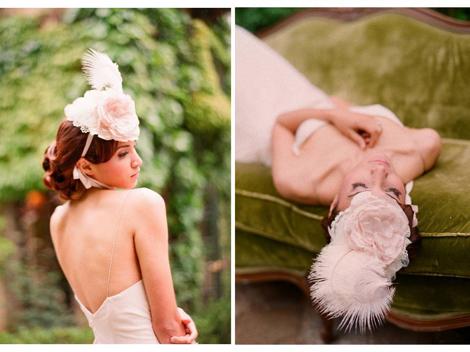 Dramatic vintage-inspired bridal mini hat from Twigs and Honey