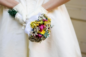photo of Dazzling eco-chic bridal bouquet made from vintage brooches