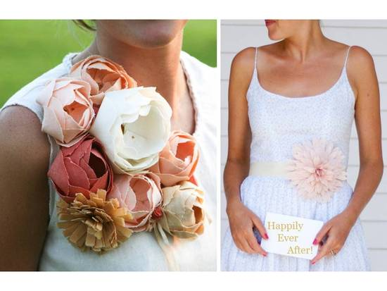 photo of Eco-chic wedding flowers- handmade linen blooms