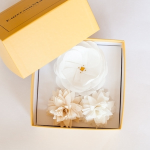 photo of White and ivory three pin bridal bouquet