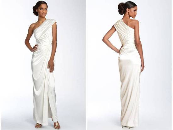 One shoulder silk charmeuse Grecian-inspired wedding dress