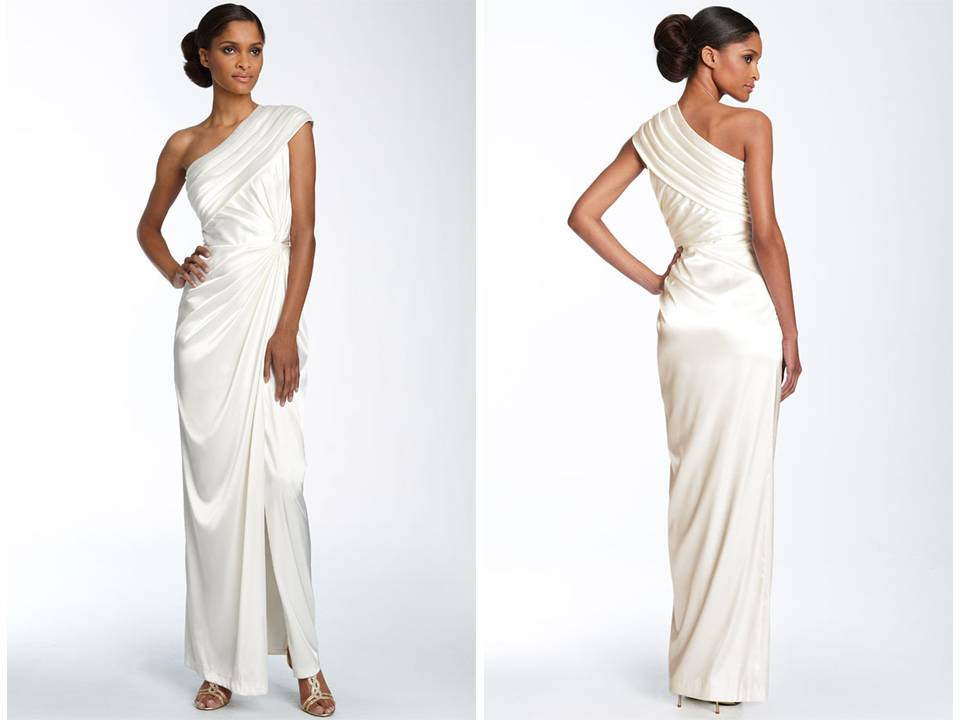One Shoulder Silk Charmeuse Grecian Inspired Wedding Dress