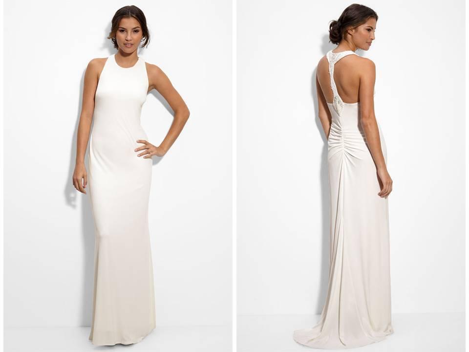Matte Jersey Column Wedding Dress With Beaded Back Perfect For A Beach