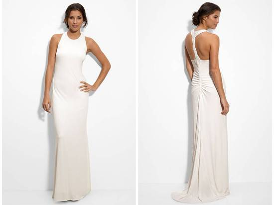Matte jersey column wedding dress with beaded back, perfect for a beach wedding