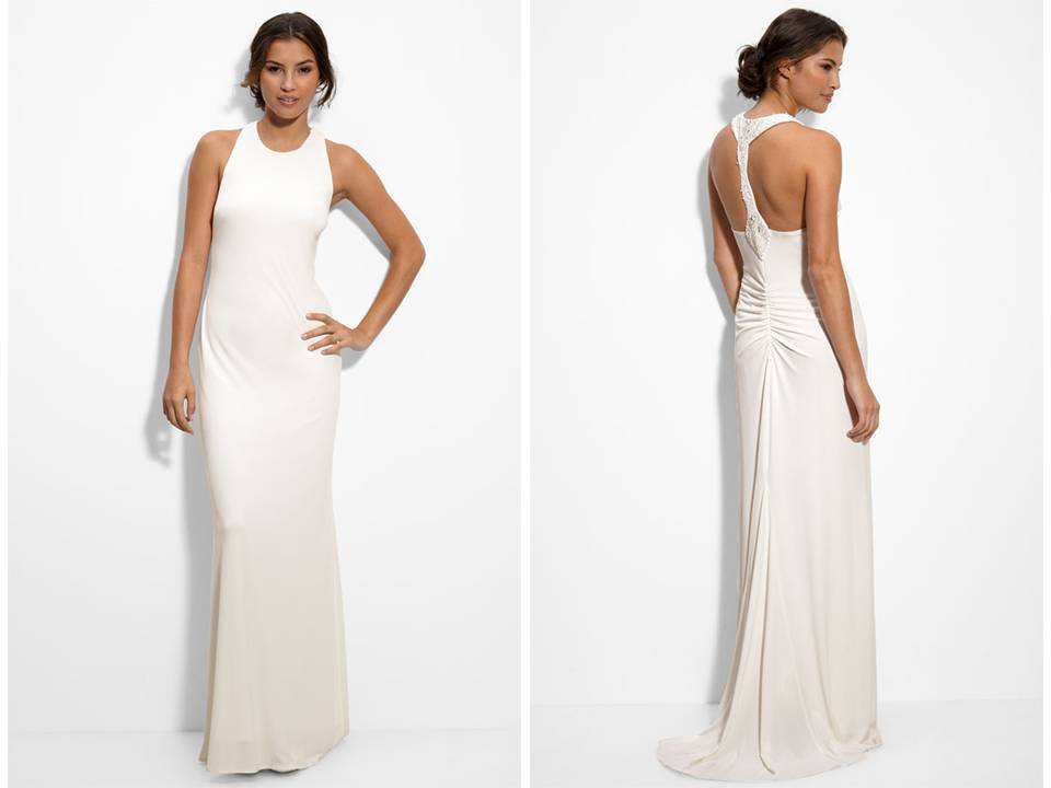 Matte jersey column wedding dress with beaded back for Wedding dresses new jersey
