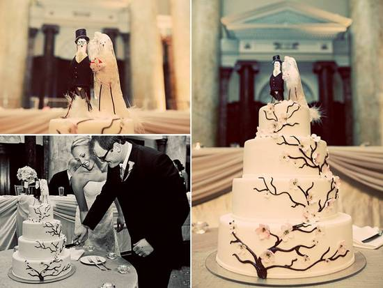 Adorable ivory 4-tier wedding cake with cherry blossom design and cute cake topper