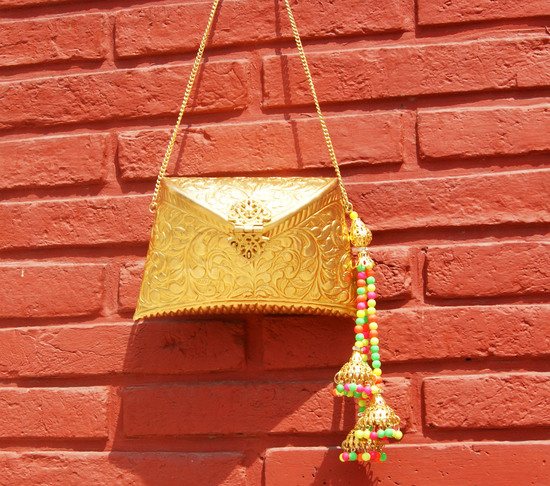 Engraved Gold Clutch Bag With Multi Beaded Tassel