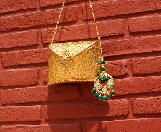 Engraved Gold Clutch Bag With Green Chand Baali Detail Tassel