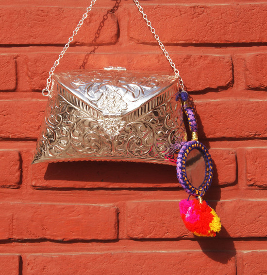 Engraved Silver Clutch Bag With Blue Kutchh Work Tassel