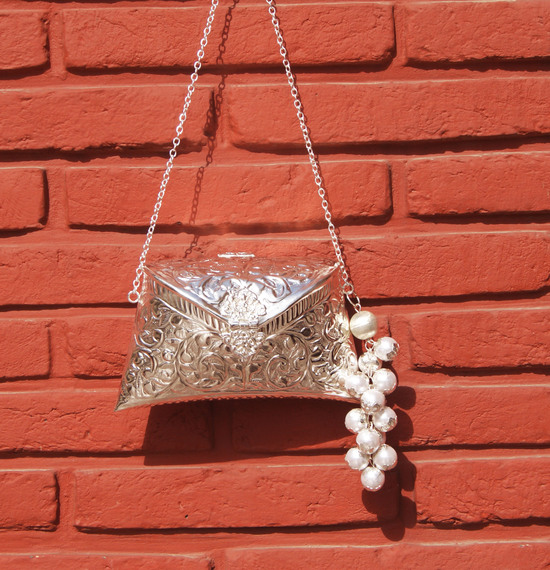 Engraved Silver Clutch Bag With Silver Pearl Drop Tassel