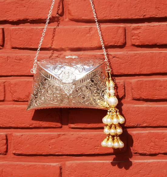 Engraved Silver Clutch Bag With Pearl Drop Tassel