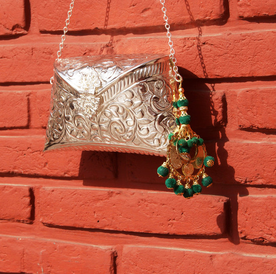 Engraved Silver Clutch Bag With Green Chand Baali Detail Tassel