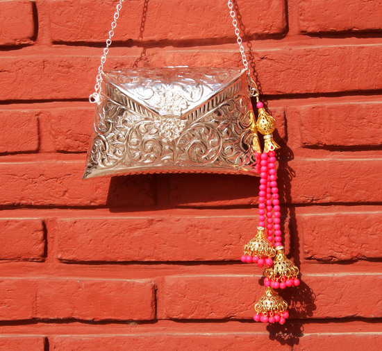 Engraved Silver Clutch Bag With Neon Pink Beaded Tassel