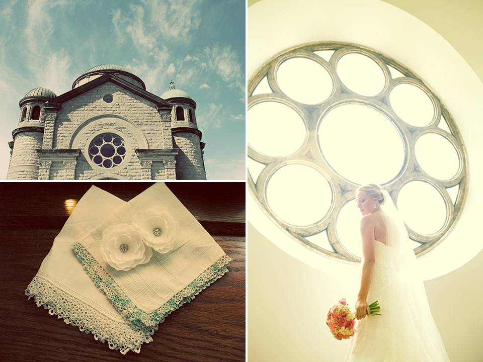 Gorgeous Iowa ceremony church with rich history and stunning architecture; bride wears lovely fabric