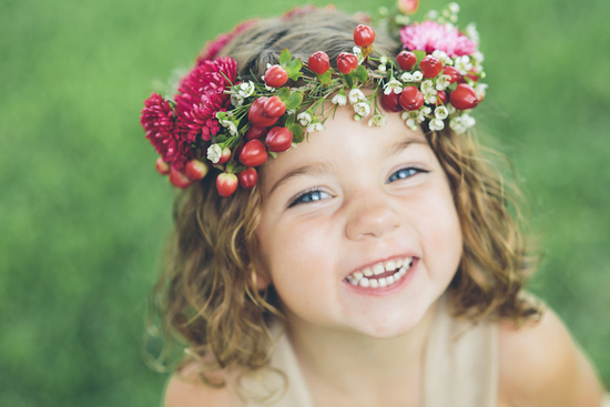 Adorable flower girl with crown
