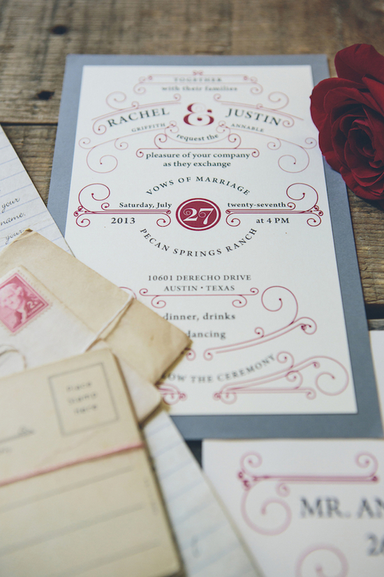 Postcard themed wedding invitations
