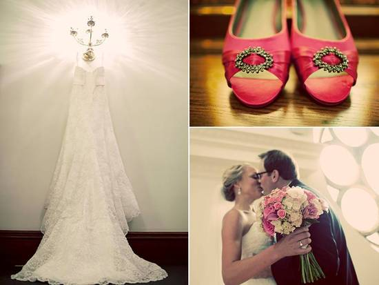 Fall Iowa wedding- bride wears white lace wedding dress, hot pink bridal heels