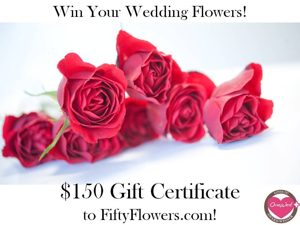 Win $150 gift certificate from FiftyFlowers for your DIY wedding flower projects
