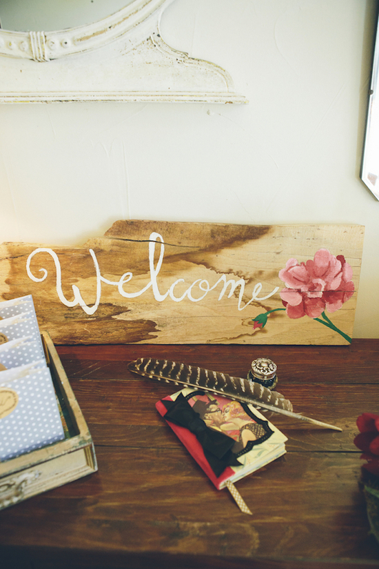 Welcome table decor with guest book