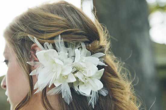 White floral hair fascinator