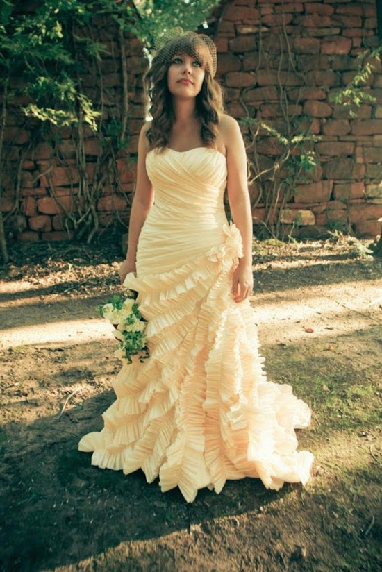Unique wrap and ruffled wedding gown