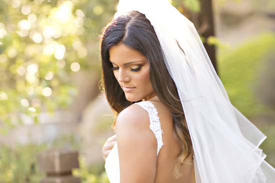 Brunette bride with veil