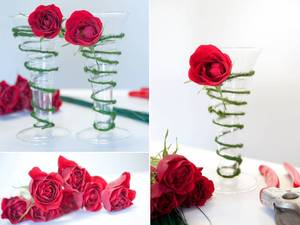 photo of Simple DIY Wedding Flowers Project- Floral Toasting Flutes!