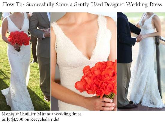 Gently-used lace Monique Lhuillier wedding dress for $1500