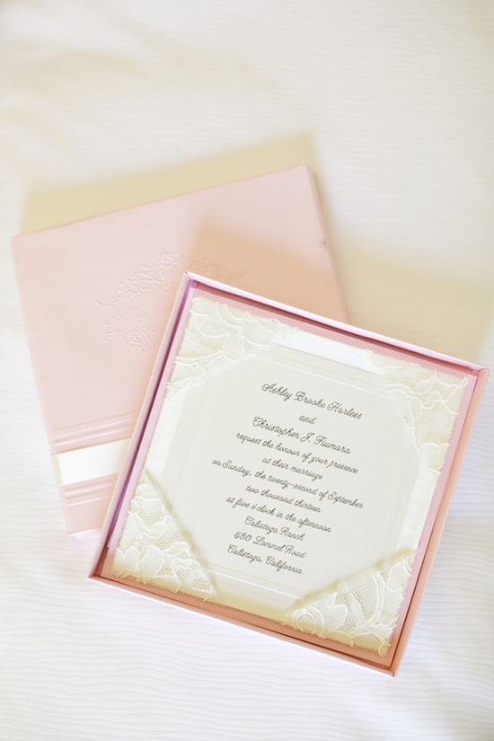 Pink lace invitations
