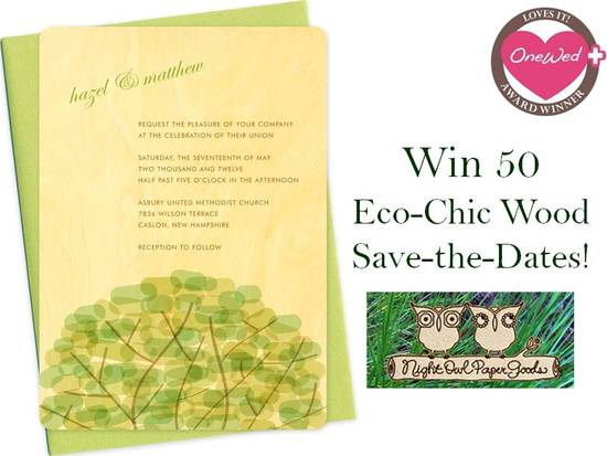 50 free eco-chic save-the-dates from Night Owl Paper Goods!