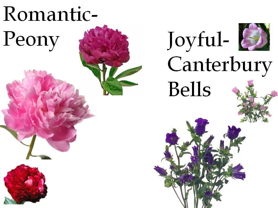 Peonies are romantic wedding flowers, and canterbury bells symbolize joy