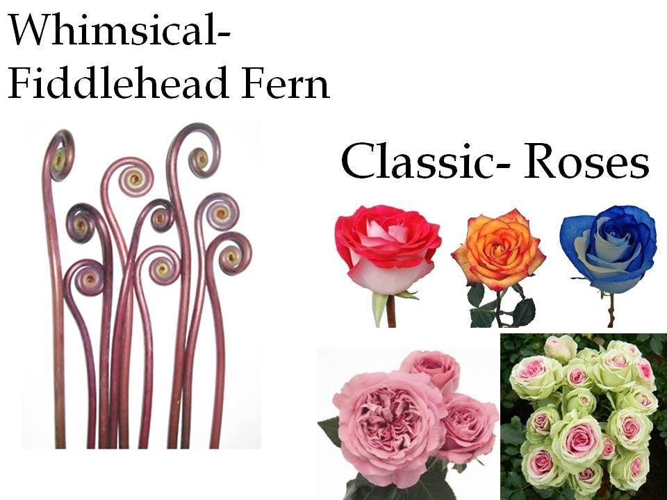 For a classic or whimsical wedding, choose roses and fiddlehead ferns for wedding flowers