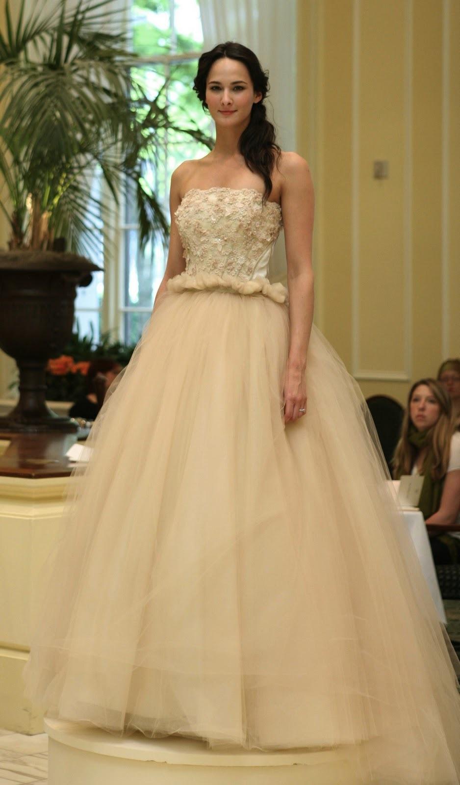 Beige Romantic Tulle Ballgown Wedding Dress