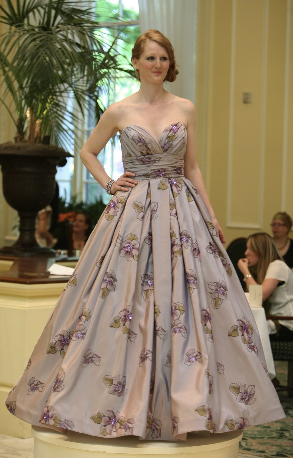 Gorgeous purple grey sweetheart neckline wedding dress with floral pattern