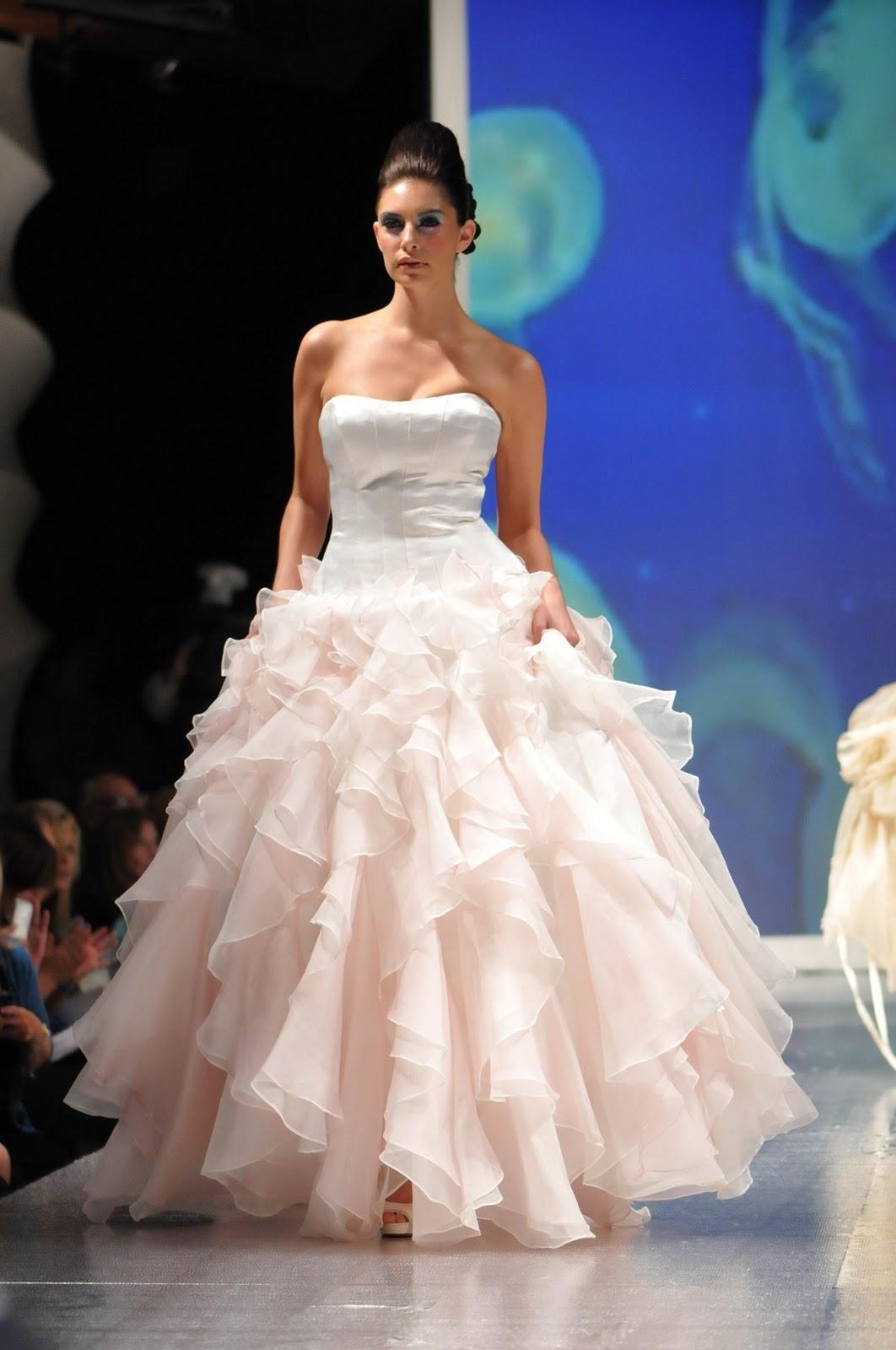 Strapless light pink ballgown wedding dress by luly yang for Light pink wedding guest dress