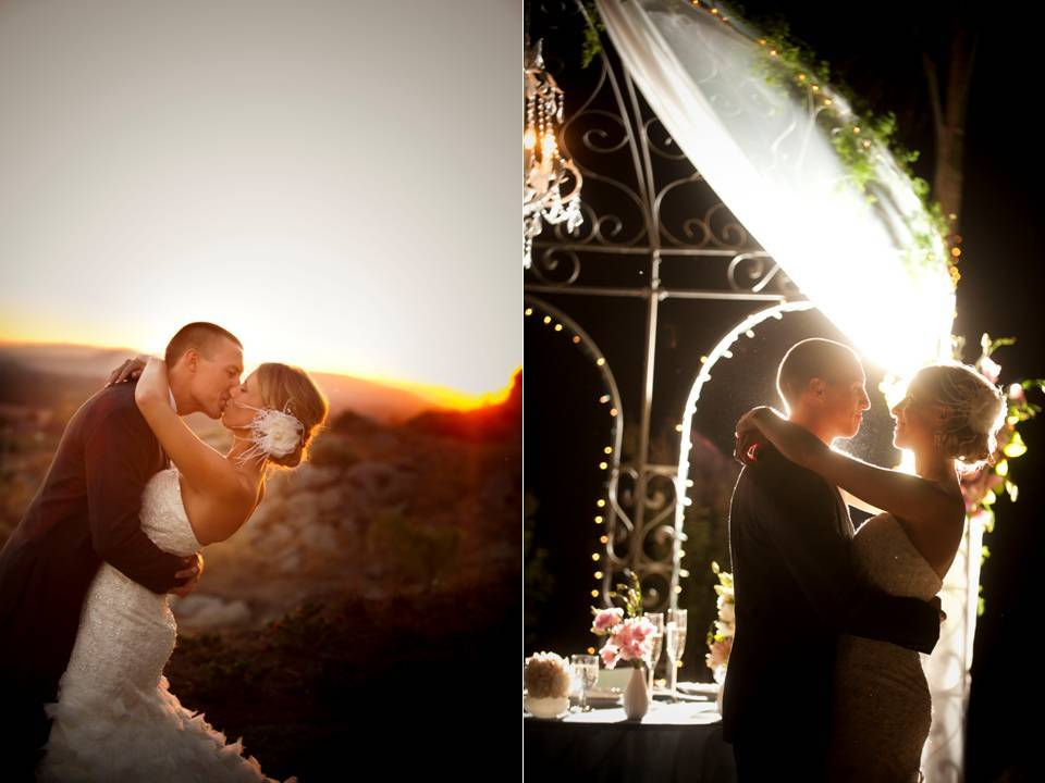 California bride and groom share first dance under nighttime sky